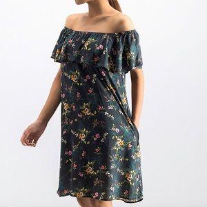 Velvet Floral off the shoulder Dress